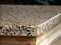 Recycled glass counter top…much cheaper than granite & you can choose from a large selection of colors! Much more interesting than granite too! @ Home Ideas Worth Pinning
