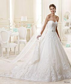 nicole spose bridal 2015 style 18 niab15029iv sweetheart strapless princess a line chapel train wedding dress