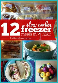 12 Slow Cooker Freezer Meals In 1 Hour {+ Dinner Tonight