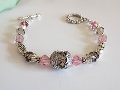Swarovski Rose Crystal Bracelet Pink Beaded by TreasuresofJewels @jnldesigns