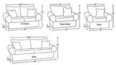 Resultado de imagen para sofa chair measurements