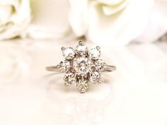 Vintage Floral Diamond Engagement Ring 1.00ctw Diamond Cluster Ring 14K White Gold Diamond Wedding Ring Size 6!