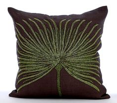 Designer Brown Pillow Covers 16x16 Linen Pillows by TheHomeCentric