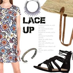 Look 11#  Lace Up Sandals - Beach - Floral