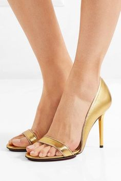 Charlotte Olympia - Christine Metallic Leather Pumps - Gold - IT39.5