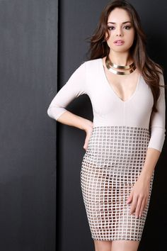 Grid Mesh Contrast Plunging V Bodycon Dress