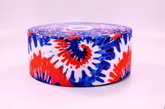 """3"""" Wide Red White and Blue Tie Dye Design Printed on Grosgrain Cheer Bow Ribbon"""