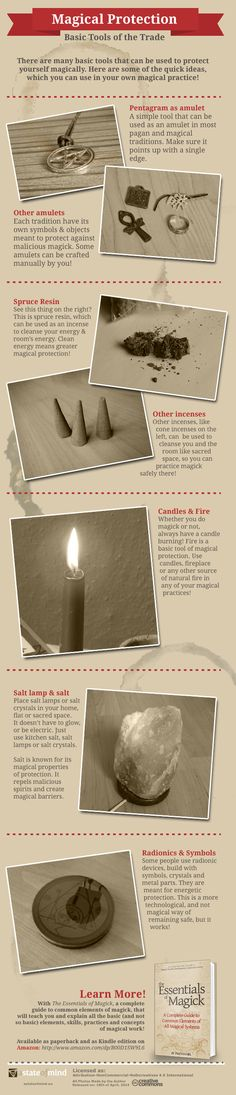 An infographics educating in the basic tools of magical protection like #amulets or #incenses - useful for #magick, #occult and #pagan practitioners.