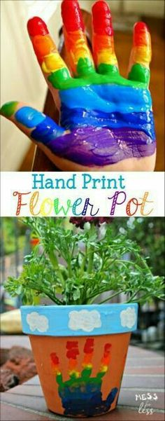 Make rainbow with multiple handprints