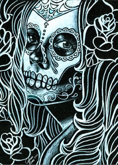 Bella Morte Signed Art Print By Carissa Rose or Black and White Day of the Dead Sugar Skull Girl - My Sugar Skulls Sugar Skull Girl, Sugar Skulls, Catrina Tattoo, Day Of The Dead Skull, Candy Skulls, Chicano Art, Skull And Bones, Skeleton Bones, Skull Art