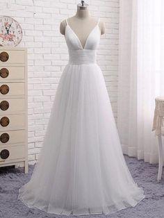 2018 A-line Prom Dresses White Spaghetti Straps Simple Long Prom Dress Evening Dresses AMY274