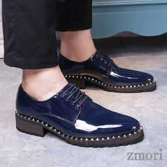 Blue Patent Leather Studs Lace Up Oxfords Flats Dress Shoes Blue Dress Shoes, Dress Flats, Oxfords, Loafers Men, Leather Heels, Patent Leather, Spike Shoes, Oxford Flats, Winter Snow Boots