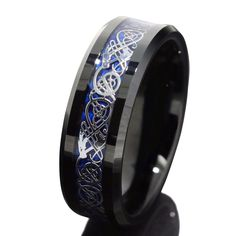 8mm Black Tungsten Carbide Ring Silvering Celtic Dragon Blue Carbon Fibre Wedding Band Mens Jewelry Size 10
