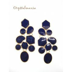 Aretes en tono azul rey 6 x 3 cms estilo 1068