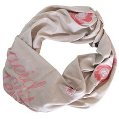 Long beige and pink scarf