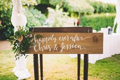 Calligraphy, flowers and wood signs