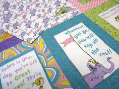 Baby Quilt Patchwork quilt baby Dr Seuss Quilt, Baby Girl Quilt, Elephant Quilt, Teal, Purple, Pink, Green, Yellow