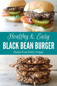 Easy Black Bean Mushroom Burger (vegan, gluten free) healthy and easy black bean burger recipe that is vegan, plant based. The patty is gluten free and you can pick your own toppings. Vegan Bean Burger, Vegan Burgers, Vegan Burger Recipe Easy, Burger Recipes, Vegetarian Recipes, Healthy Recipes, Yummy Recipes, Healthy Food, Dinner Recipes