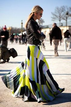 Women's fashion | Printed maxi skirt and leather jacket