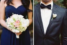 Formal elegant real wedding with navy blue bridesmaids
