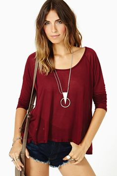 Soft Shock Tee - Oxblood in Clothes Tops at Nasty Gal