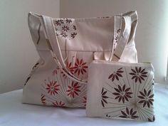 Free Shipping, Flower Handbag, Zip Purse, Double Strap
