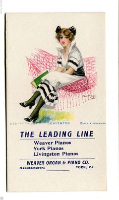 Vintage Advertising Blotter WEAVER ORGAN & PIANO York PA Livingston Piano