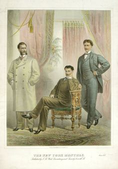 "A fashion page from, ""The New York Monthly"" - June, c.1878. American Gilded Age, gentlemen's fashion attire. ~ {cwl}"