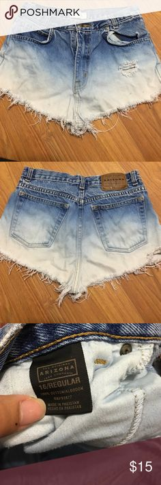 High waisted ombré denim shorts High waisted distressed ombré shorts. Says its 16 regular, but fits like a 29/30 Arizona Jean Company Shorts Jean Shorts