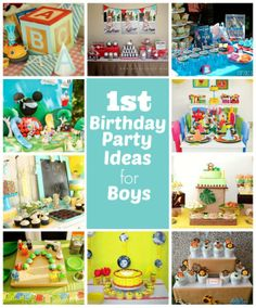 1st Birthday Party Ideas for Boys (find link for Birthday Time Capsule - save party invites, pics, dvd from party, hand and foot prints, hats, etc.)