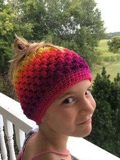f28d193b554 Items similar to Messy Bun Ponytail Puff Stitch Hat Beanie Bright Colors  Stripe on Etsy