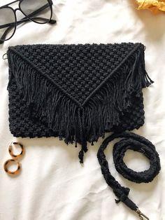 Macrame Bag/Macrame Purse/ Black Macrame Purse/ Boho Purse/ Strap Bag/ Black Macrame Bag/Macrame Shoulder Bag/Macrame Hand Bag/Ready to ship – Top Of The World Diy Purse Organizer, Macrame Purse, Macrame Knots, Bag Women, Purse Strap, Black Purses, Knitted Bags, Purses And Handbags, Clutch Handbags
