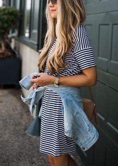 Ashley Robertson in Striped Dress and Denim Jacket