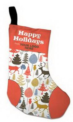 custom happy holidays print 100 percent recycled pet stocking - Small Christmas Stockings