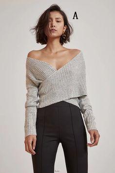 92d6019637 Cross Wrap Off Shoulder Grey Sweater