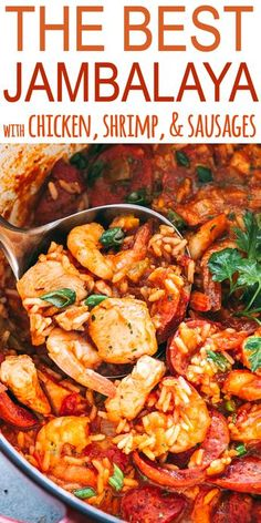 THE BEST JAMBALAYA RECIPE! Easy tasty one pot recipe for Jambalaya prepared with rice chicken shrimp and sausages. Whip up this Southern favorite in just 30 minutes and get ready for a Mardi Gras dinner that the whole family will love! Crock Pot Recipes, Cooker Recipes, Creole Recipes, Best Food Recipes, Gumbo Recipes, Recipies, Cheap Recipes, Donut Recipes, Cajun Recipes