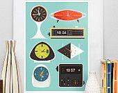 Mid Century modern art  print  modernist  Clock poster  Baby nursery art print   -  flip clock, George Nelson, Atomic clock   A3 size