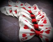 Custom real Playing Card hair bow clip or pin. alice in wonderland party?