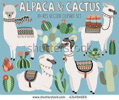 Llama linda y Cactus Elementos de diseño vectorial