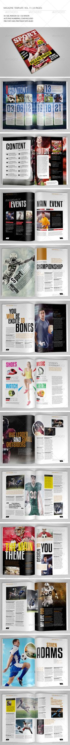 25 Pages Sport Magazine Vol11 by -BeCreative- 25 Pages Sport Magazine Vol11: This item consist of 25 pages that fully editable and customizable.Detail :25 pages Size A4 (8.27x1