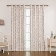 Their reverse geometric trellis blackout curtains combine the classic look of dupioni silk and bold trellis prints together to bring distinguished elegance to your space. These preppy trellis curtains drape gracefully with a soft sheen and characteristic small slubs of silk and instantaneously add visual and textural interest to an average room. The stylish trellis pattern will help create a rich and vibrant interior that is easy to pull together and seamlessly integrate with other elements…