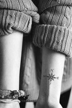 Tatouage au poignet des points cardinaux, un joli tatouage discret et intemporel