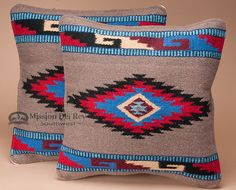 Pair of Southwestern Pillow Covers 18x18 -Jicarilla Pattern - Mission Del Rey Southwest