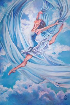 Heavenly Dance, girl dancing in the clouds with sky blue scarf.