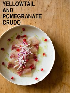 A light and refreshing crudo recipe for anytime. Yellowtail & Pomegranate Crudo with a shiso oil. Raw Food Recipes, Fish Recipes, Seafood Recipes, Appetizer Recipes, Snack Recipes, Appetizers, Healthy Recipes, Delicious Recipes, Snacks