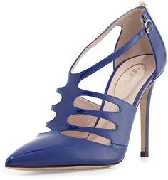 Sarah Jessica Parker SJP by Denise Patent T-Strap Pump, Blue on shopstyle.com