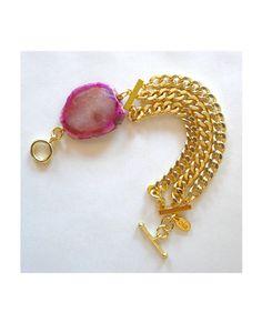 Gold Triple Chain Agate Bracelet