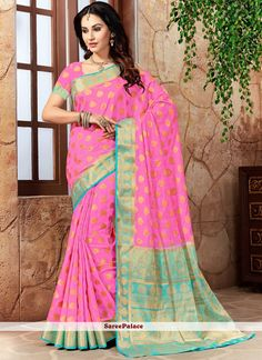 This brilliant array will make you the ultimate classic beauty at the next event you attend. Make the heads turn when you dress up in this charming pink art silk traditional designer saree. This attir. Blue Saree, Bright Pink, Aqua Blue, Designer Sarees Online, Art Silk Sarees, Latest Sarees, Pink Art, Indian Beauty Saree, Party Wear Sarees