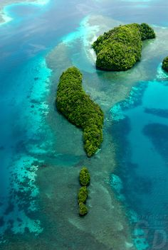 Aerial view over the Rock islands near Pinchers Lagoon, Palau, Micronesia