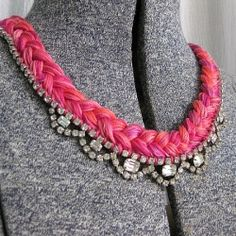 Easy DIY tutorial for necklace using just embroidery thread and costume jewelry.